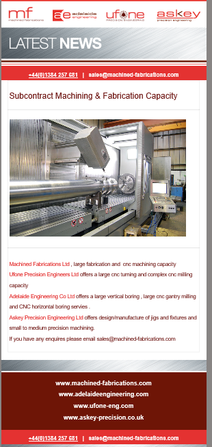 Subcontract Machining and Fabrication Capacity